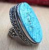 """Яркое  кольцо """"Овал"""" с натуральной бирюзой-туркизом, размер 18.4 от студии LadyStyle.Biz"""