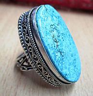 """Яркое  кольцо """"Овал"""" с натуральной бирюзой-туркизом, размер 18.4 от студии LadyStyle.Biz, фото 1"""