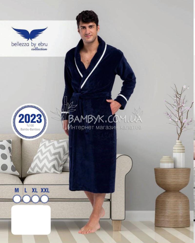 cfa39d6d49220 Мужской халат Bellezza By Ebru бамбуковый синего цвета №2023 ...