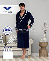 Мужской халат Bellezza By Ebru бамбуковый синего цвета №2023, фото 1