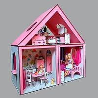 Домик «Особняк Барби» 3 комнаты/ 2 этажа + обои + шторки + мебель + текстиль
