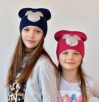 Шапка вязаная для девочки Микки пайетки, синий, вишня, пудра, пыльная роза, серый (р.4-12 лет), фото 1