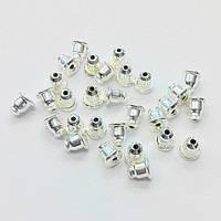 Заглушки для серег железные с силиконовой вставкой (цвет св. серебро) вес примерно 15 г