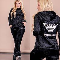 637fca18 Женский бархатный спортивный костюм с капюшоном больших размеров 50-56