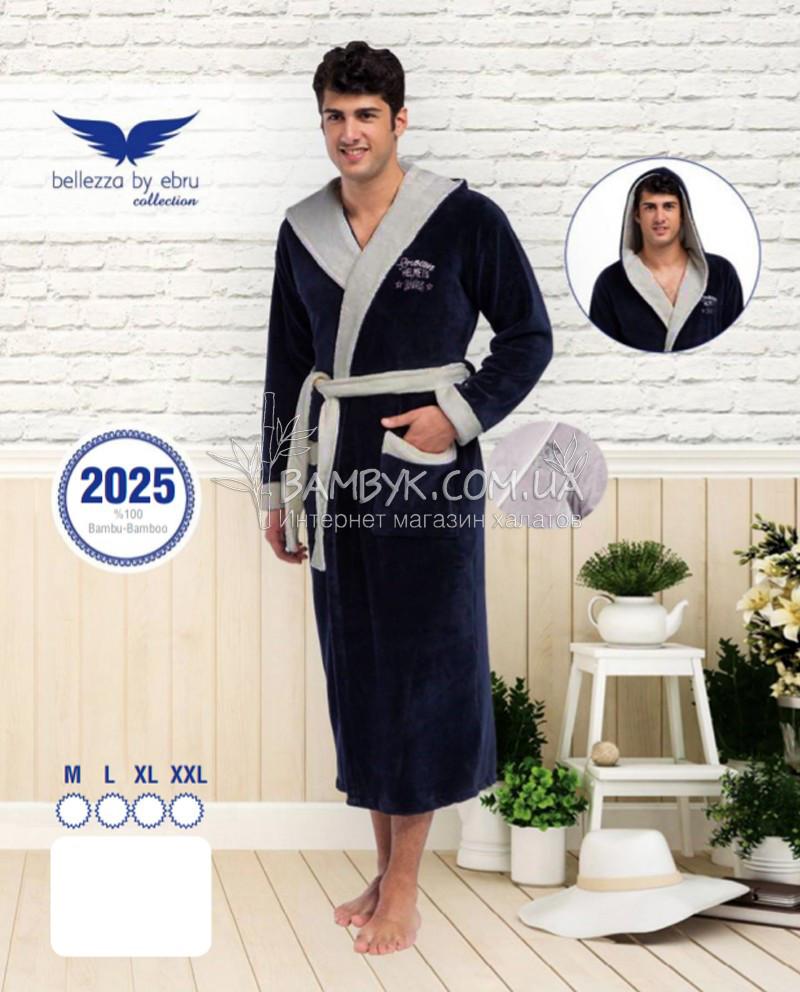 8555e17b82926 Мужской халат Bellezza By Ebru бамбуковый темно-синего цвета №2025 -  интернет-магазин