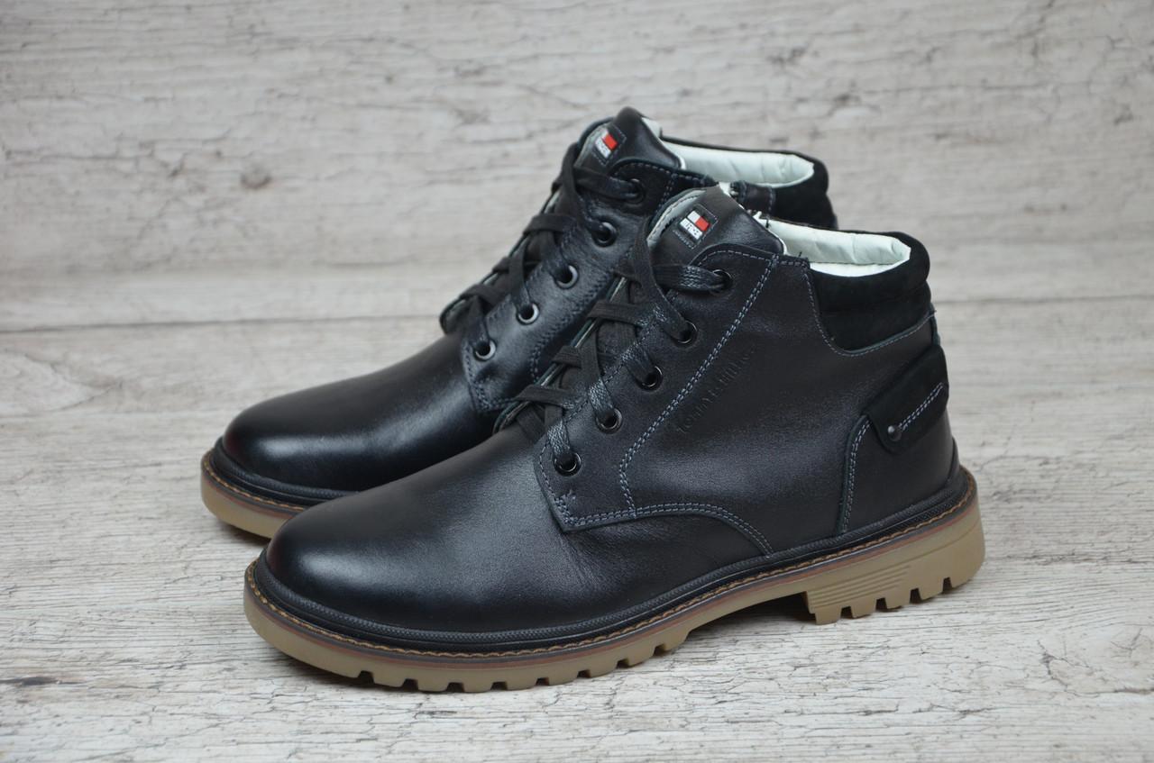Мужские классические зимние ботинки Tommy Hilfiger черные (Реплика ААА+) -  bonny-style a3d85364f3fcb