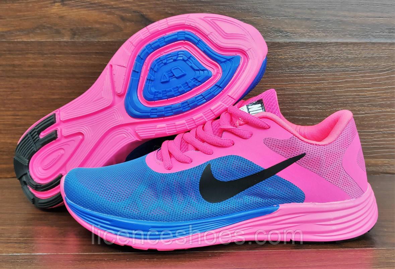 Женские кроссовки Nike Air Max LunarLaunch. Синие с розовым
