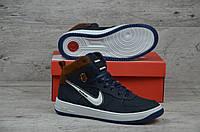 Зимние мужские кроссовки Nike темно синие  (Реплика ААА+), фото 1