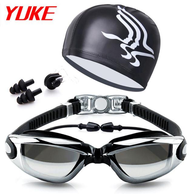 Комплект для плавания - очки, шапочка и беруши, Black