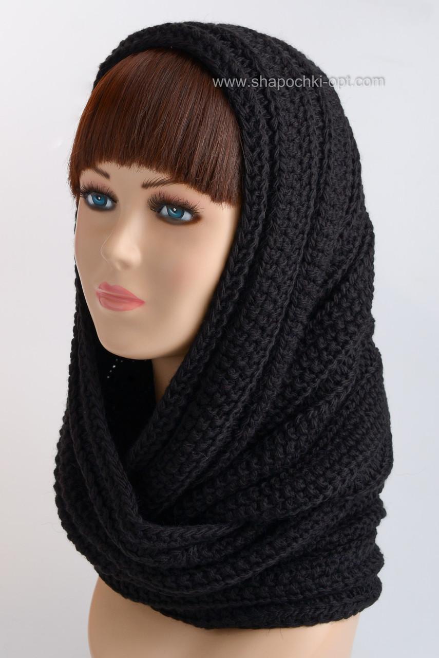 вязаный шарф хомут н 117 черный продажа цена в одессе шарфы от