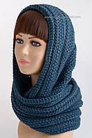 Вязаный шарф-хомут Н-117 синий