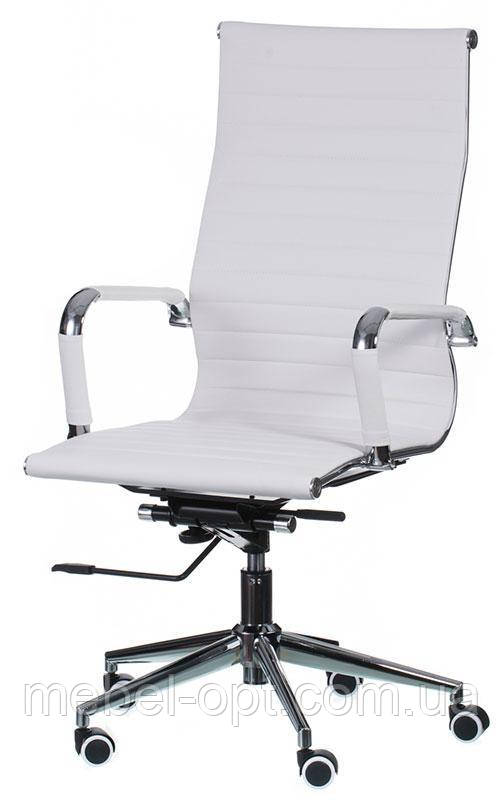 Кресло Solano artlеath белое реплика кресла Eames Style HB Ribbed Office Chair EA 119 Бесплатная доставка