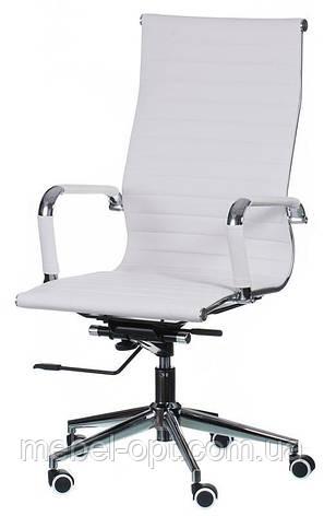 Кресло Solano artlеath белое реплика кресла Eames Style HB Ribbed Office Chair EA 119 Бесплатная доставка, фото 2