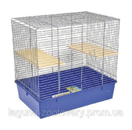Клетка для шиншиллы, 70х44х66см, хром, синяя, фото 2