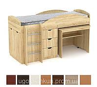 Кровать детская односпальная со столом и шкафчиками Универсал