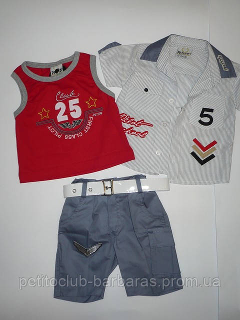 Летний комплект для мальчика Ok: майка, сорочка, шорты  (ТМ Petito Club, Турция)
