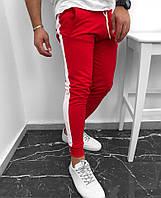 Мужские штаны модные красные с белой полоской