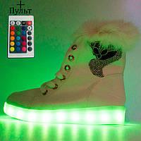 Зимние светящиеся кроссовки Led на меху - белые с пультом - Реплика р.(36, 39, 40)