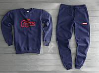 Темно синий утепленный спортивный костюм Суприм Supreme мужской (РЕПЛИКА)