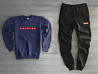 0ae751e83917 Мужской зимний спортивный костюм Суприм Supreme бордо темно синий с черным  (РЕПЛИКА)
