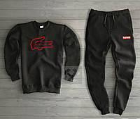 Утепленный черный спортивный костюм Суприм Supreme мужской (РЕПЛИКА)