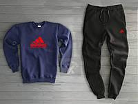 Мужской спортивный костюм на флисе Адидас Adidas темно синий с черным (РЕПЛИКА)