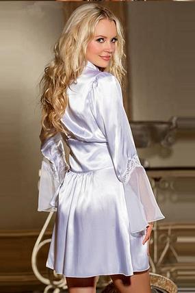Белоснежный атласный халат, фото 2
