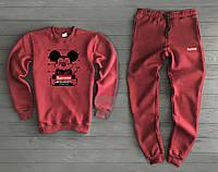 Бордовый утепленный спортивный костюм Суприм Supreme мужской (РЕПЛИКА) d98cc72c9d4