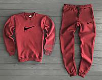 Утеплений бордовий спортивний костюм Nike Найк (РЕПЛІКА)