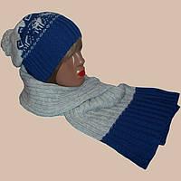 Женская вязаная шапка - носок,  шарф - петля  c норвежскими орнаментами