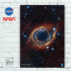 Постер Helix Nebula, Хаббл, туманность, галактика, НАСА. Размер 60x42см (A2). Глянцевая бумага