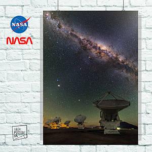Постер Телескоп ALMA, НАСА, NASA. Размер 60x42см (A2). Глянцевая бумага
