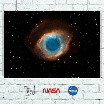 Постер НАСА, NASA, Helix Nebula, туманность Хеликс. Размер 60x42см (A2). Глянцевая бумага, фото 2
