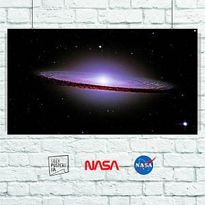 Постер Sombrero Galaxy, галактика Сомбреро, космос, астрономия. Размер 60x33см (A2). Глянцевая бумага