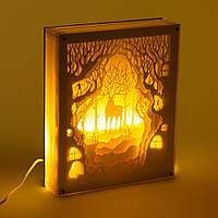 Светильник картина 3D Олень Белый