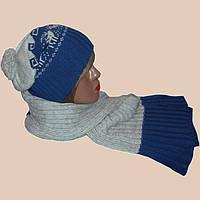 Женская вязаная шапка-носок,  шарф-петля  c норвежскими орнаментами