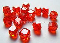 Бусина Куб с огранкой 6 мм с огранкой цвет красный (72 шт)