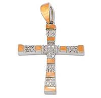 Серебряный крестик с золотыми пластинами / 30550