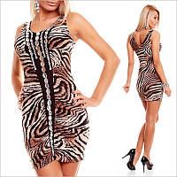 Тигровое платье с небольшим вырезом