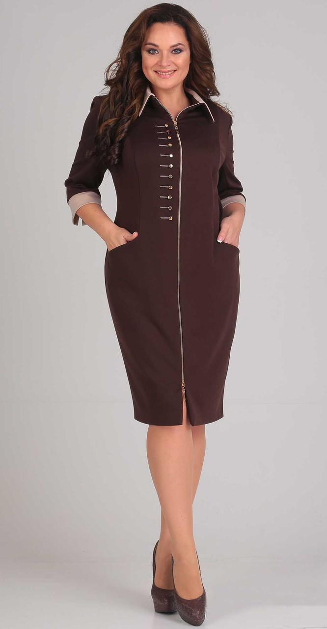 Платье Andrea Style-0097 белорусский трикотаж, коричневый, 50