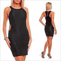 Черное эластичное платье