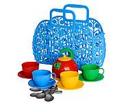 Детский игровой набор посудка Корзинка с набором посуды ТехноК пластик