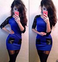 Платье с карманами и гипюром