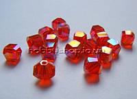 Бусина Куб с огранкой 6 мм с огранкой цвет красный с АВ напылением (72 шт)