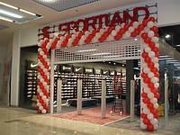 Оформление и украшение воздушными шариками открытия магазинов, салонов и др., уличное оформление