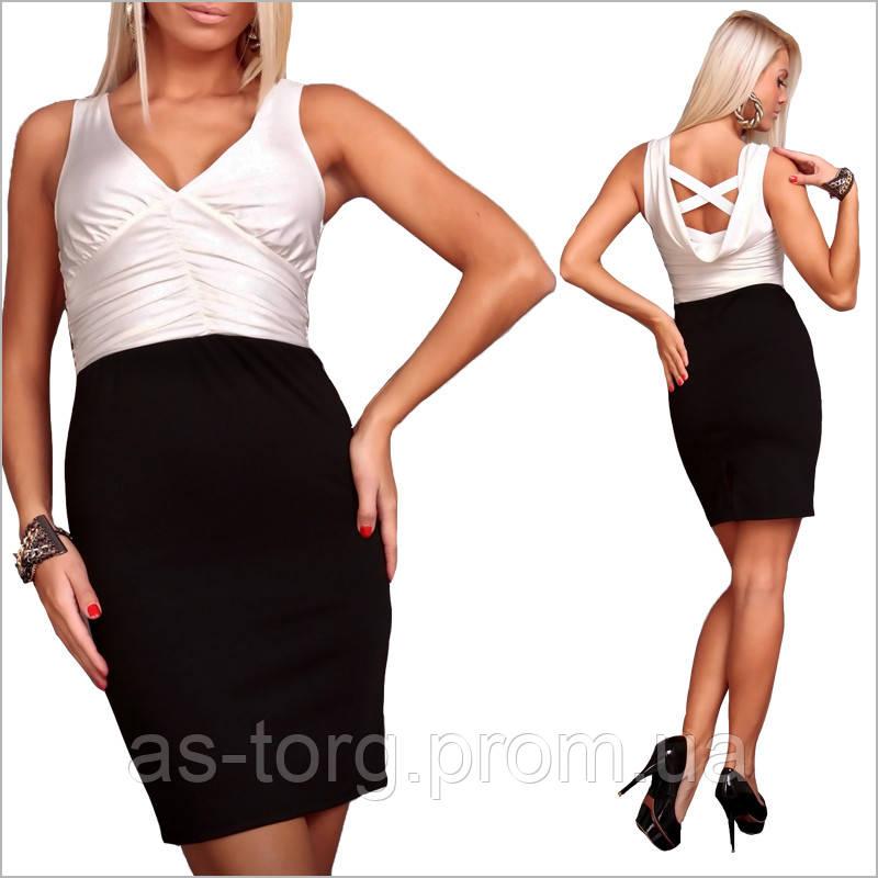 Черное-белое платье с оригинальной спинкой