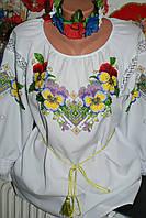 """Блузка женская вышитая бисером """"Анютины глазки"""" Ручная работа. 48 размер."""