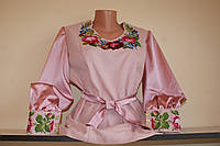 """Блузка женская """"Рожева"""" Ручная робота. Вышиванка нитками на полотне."""
