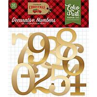 Цифри картонні, фольговані - Celebrate Christmas - Echo Park
