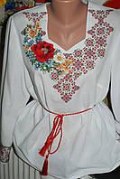 """Блузка женская вышитая нитками на полотне """"Орнамент з маком"""".Ручная работа."""